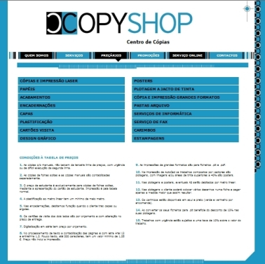 Website CopyShop - Centro de cópias